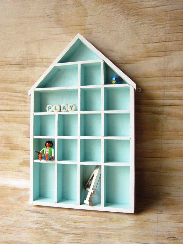 Wooden House Shaped Shelf Box Shadow Box Stands Nursery Scandi Natural Display