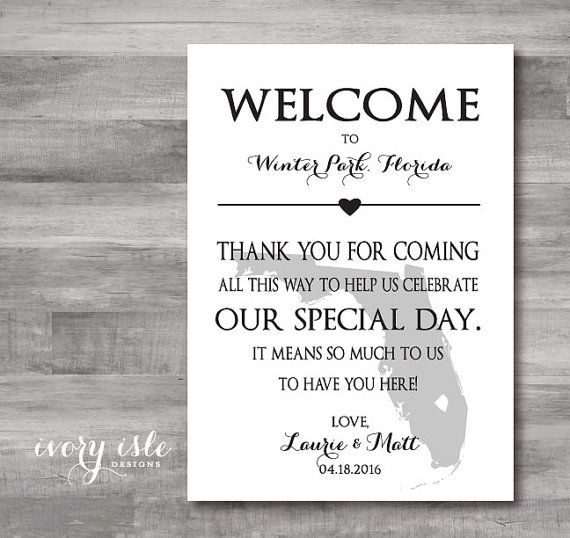 Custom State Welcome Notes, Cards, Tags for Wedding Weekend - guest card template