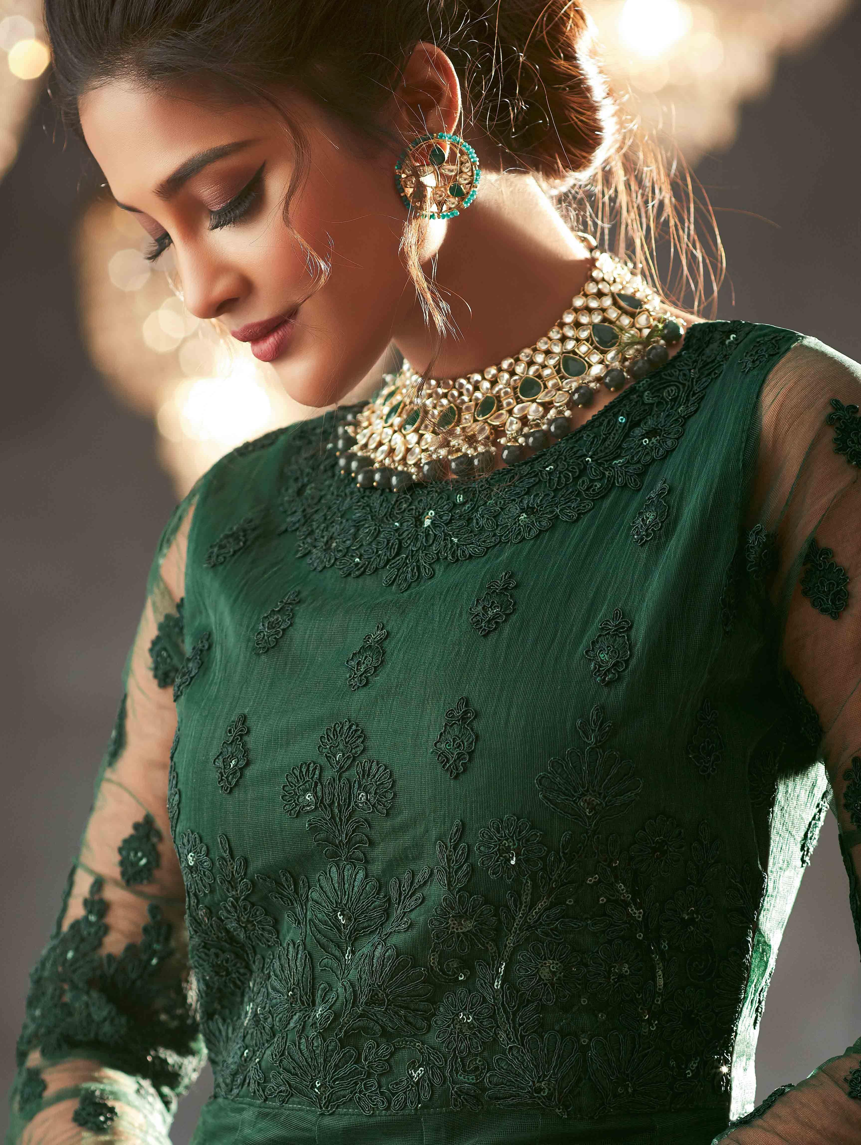 Dark Green Net Designer Embroidered Anarkali Suit With Sequins Work Anarkali Gown Anarkali Suits Designer Anarkali