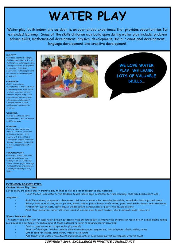 program plan template for child care - water play observation template eylf program planning
