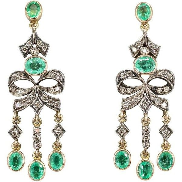Preowned Emerald Diamond Gold Chandelier Earrings 72 175 Rub Liked On Polyvore Featuring Jewelry