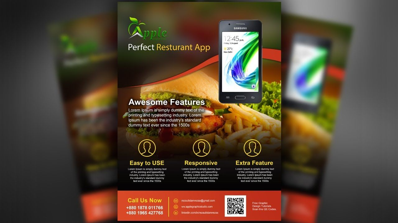Mobile App Promotional Flyer Design  Photoshop Tutorial  Flyer