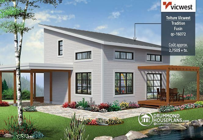 Front Affordable Small Modern Cottage Large Covered Deck Open - Affordable small modern house plan