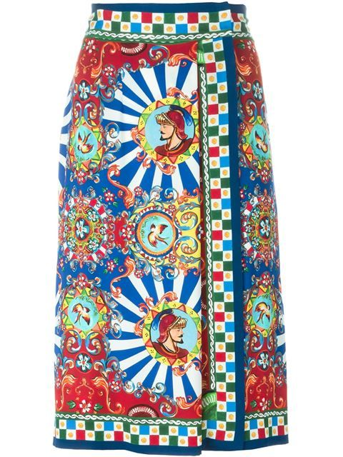 a0a7313af1 Shop Dolce & Gabbana Carretto Siciliano print wrap skirt in Parisi from the  world's best independent boutiques at farfetch.com. Shop 400 boutiques at  one ...