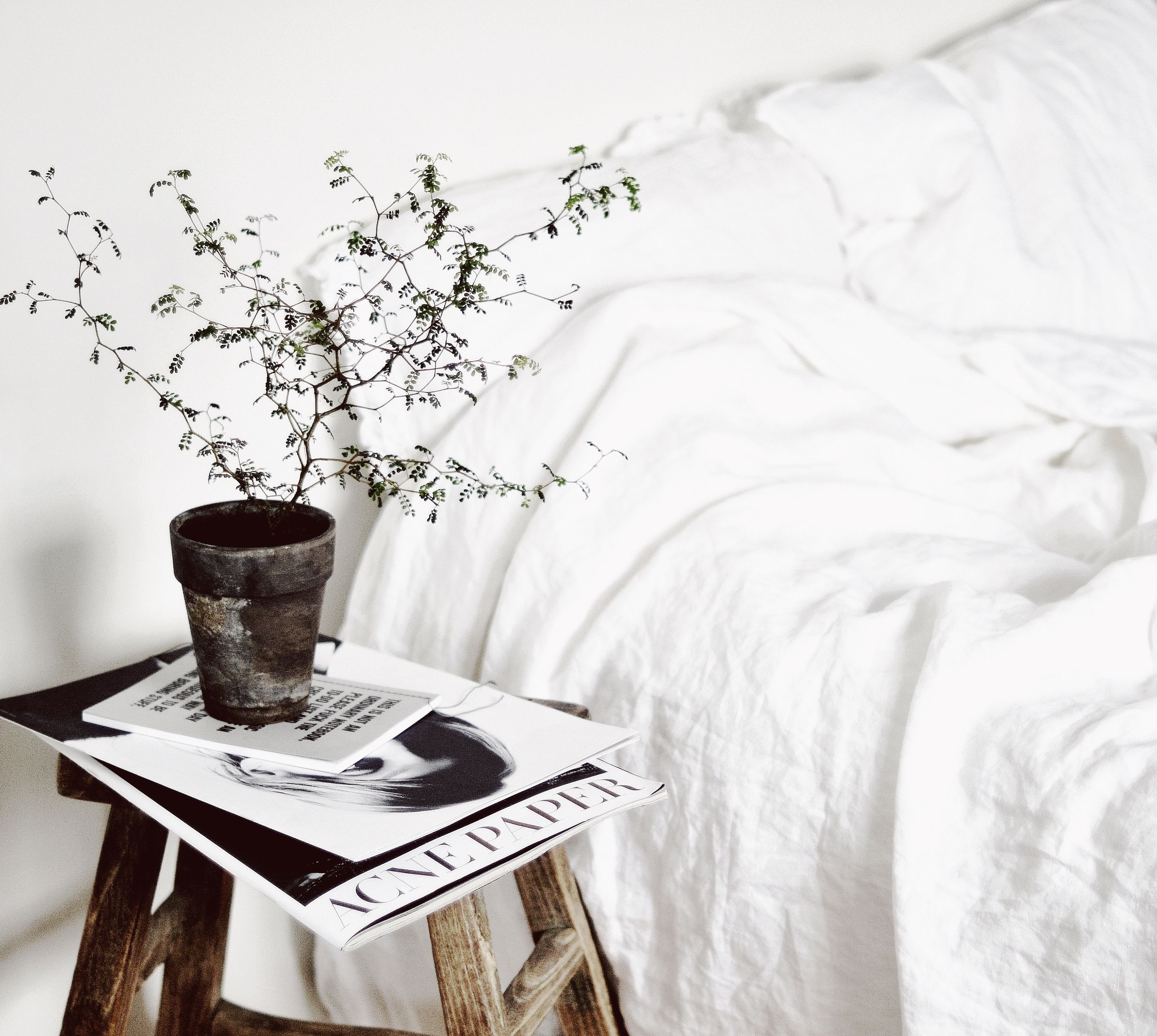 White Linen Bedding alongside organic, natural elements - true simplicity with a calming effect. By @whitelivingetc anettes2