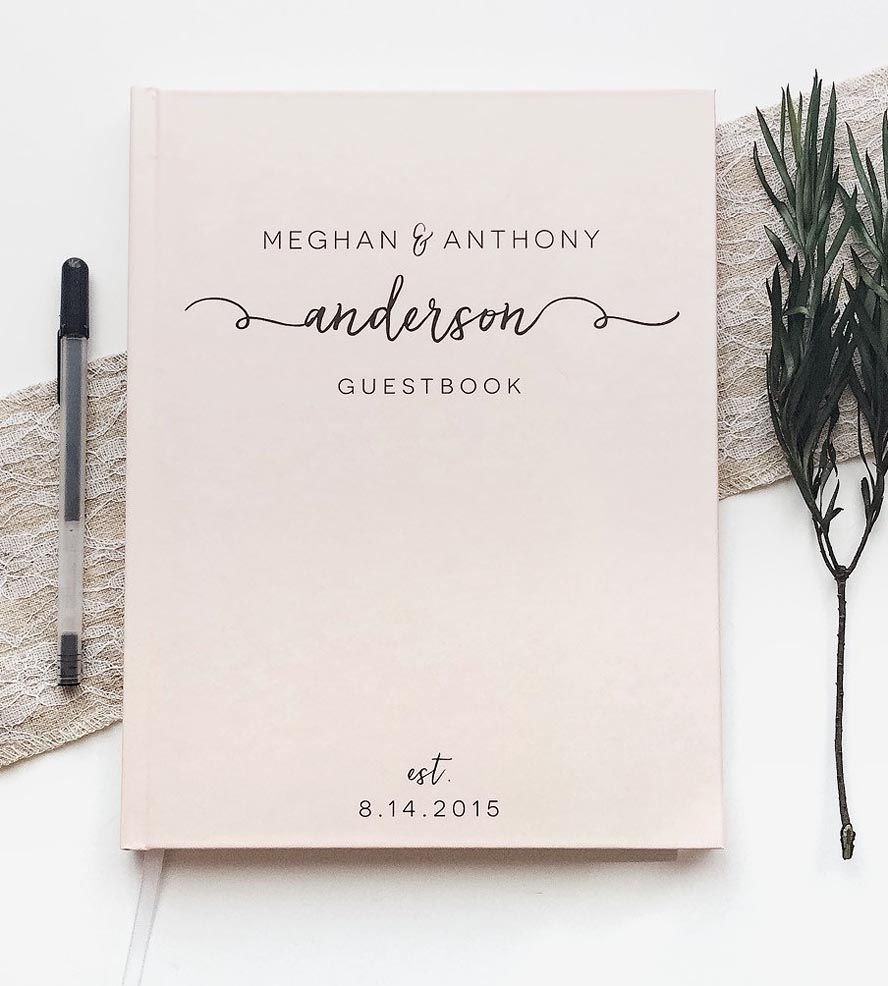 how to put guest names on wedding invitations%0A Custom Last Name Calligraphy Wedding Guest Book   Save your guests u      memories long after the