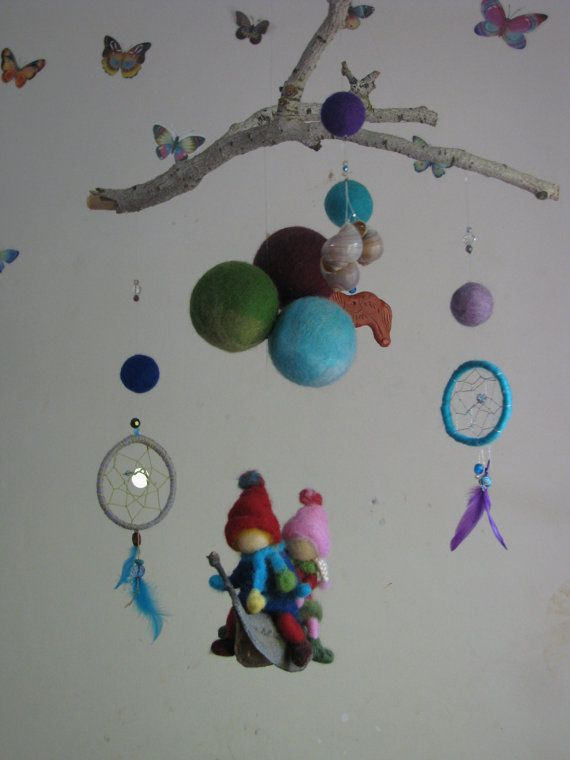 waldorf inspired needle felted nursery mobile  in por Made4uByMagic