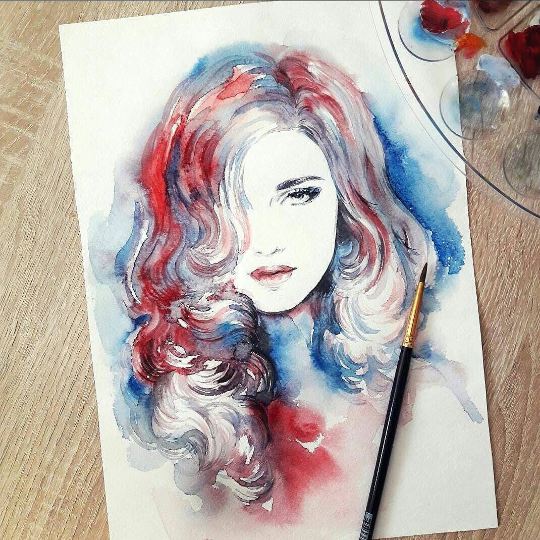 WANT A SHOUTOUT ?   CLICK LINK IN MY PROFILE !!!    Tag  #DRKYSELA   Repost from @annaismagilovaartist   #watercolorpainting #artwork #face #makeup #hairstyle #portrait #waterblog #annaismagilovaartist via http://instagram.com/zbynekkysela