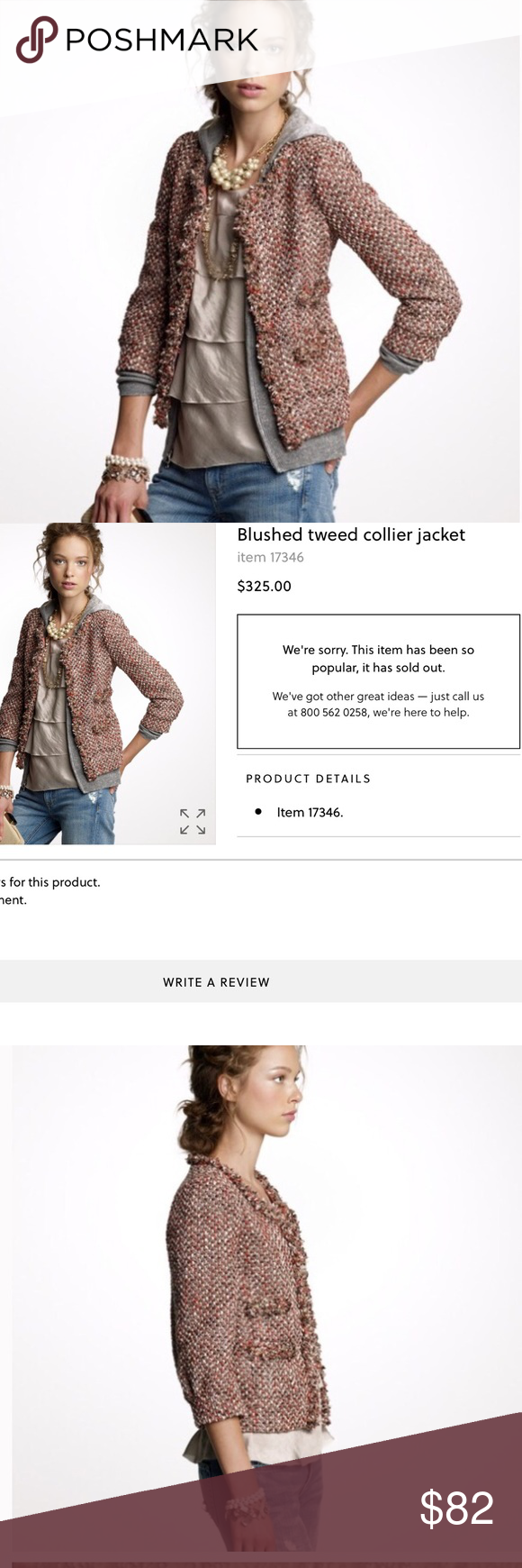 J.crew collection blushed tweed collier jacket Excellent condition J. Crew Jackets & Coats Blazers