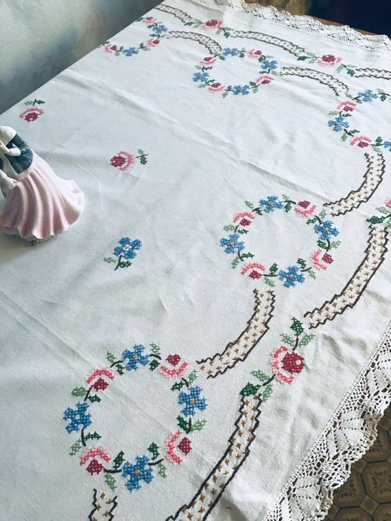 Cotton Vintage Tablecloth With Handmade Flower Embroidery