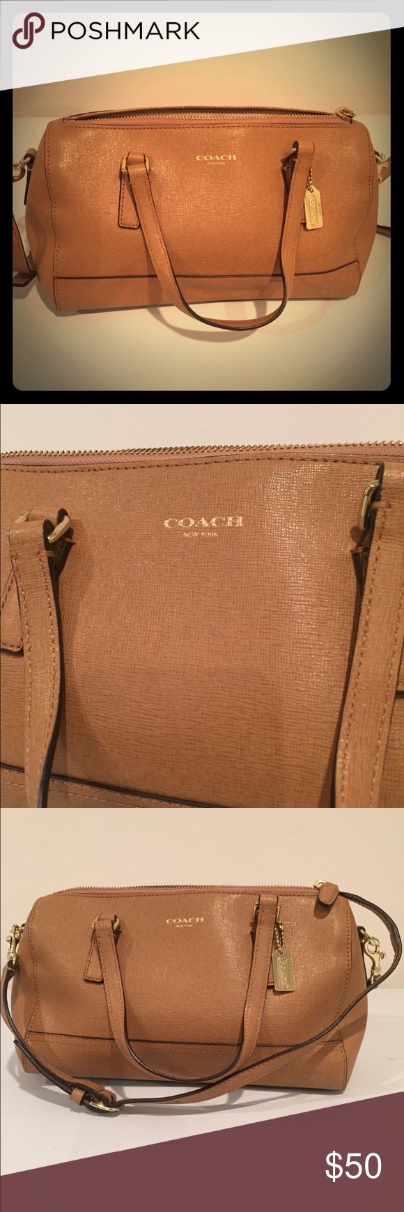 Coach purse Barley used tan Coach purse. Dimensions are approximately 10 in x 6.5 in Coach Bags