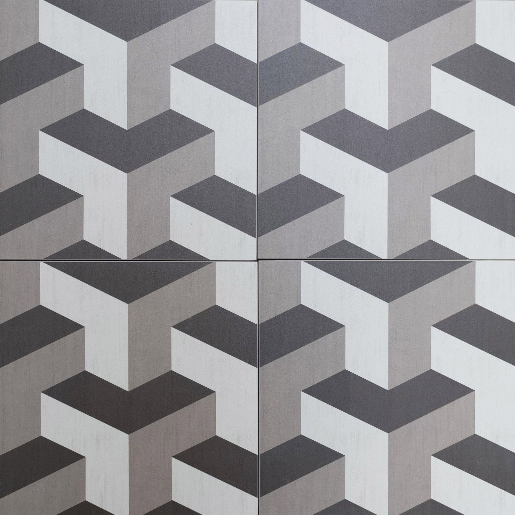 Cubic, geometric, style floor tiles encaustic look porcelain tiles. Grey  shades with funky, retro pattern.