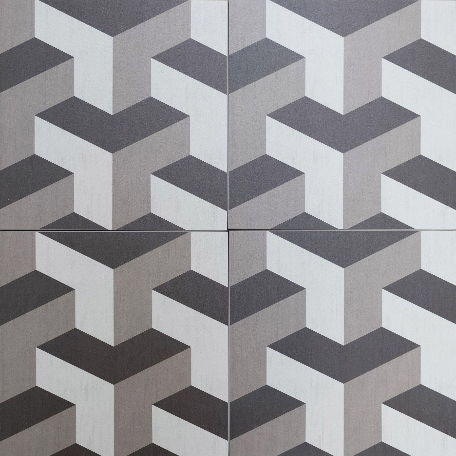 cubic, geometric, 3d style floor tiles encaustic look porcelain