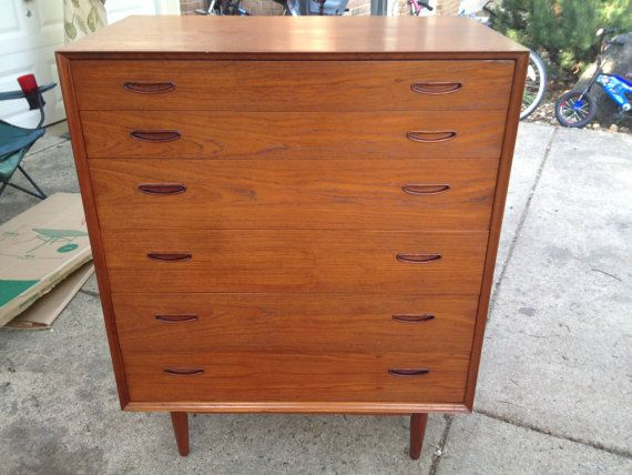 1495 Danish Modern Teak Dresser Gents Chest By Interform