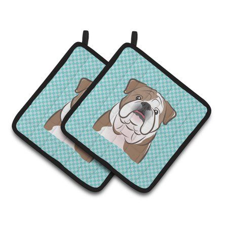 Home Blue English Bulldogs Pot Holders Quilted Potholders