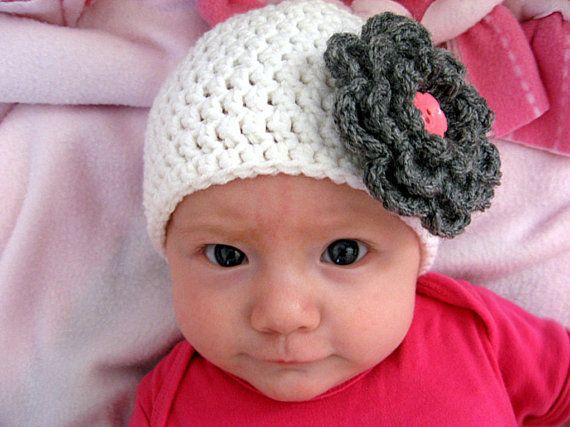 Gray Crochet Flower Clip by TheMakingsofaMommy on Etsy, $8.00