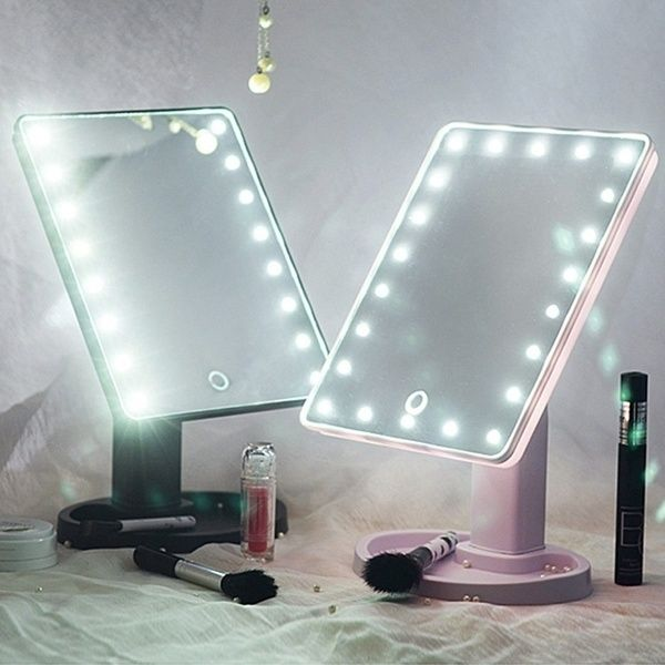 16/22 LED Touch Screen Makeup Mirror 360 Rotated Tabletop Cosmetic Light Up Mirror | Wish -   20 makeup Light led ideas
