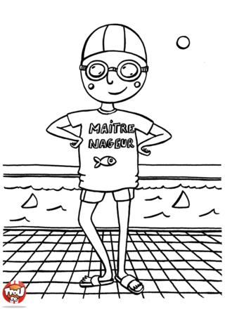 Coloriage ma tre nageur piscine pinterest for A la piscine dessin