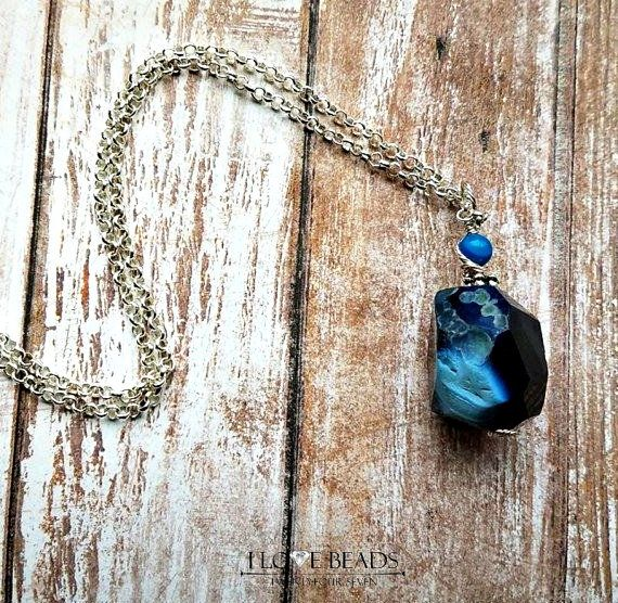 Blue agate pendant necklace-wire wrapped blue agate necklace-silver necklace-gemstone necklace-blue stone necklace-blue agate necklaces