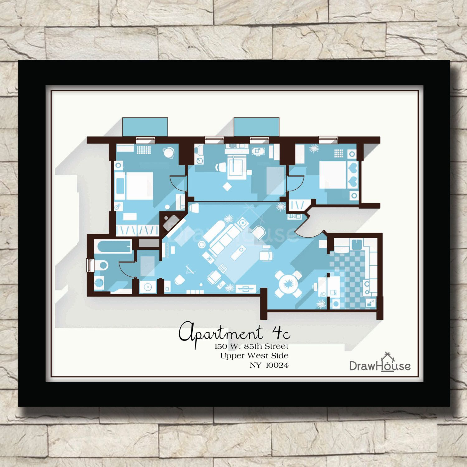 How i met your mother apartment famous tv show floor plan how i met your mother apartment famous tv show floor plan blueprint poster art malvernweather Gallery