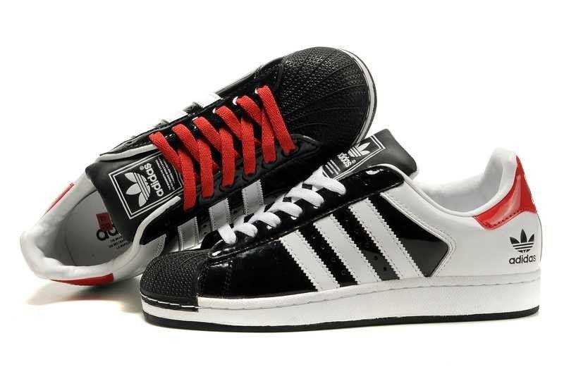 1009 : Adidas Superstar 2 Herr Svart Röd Vit