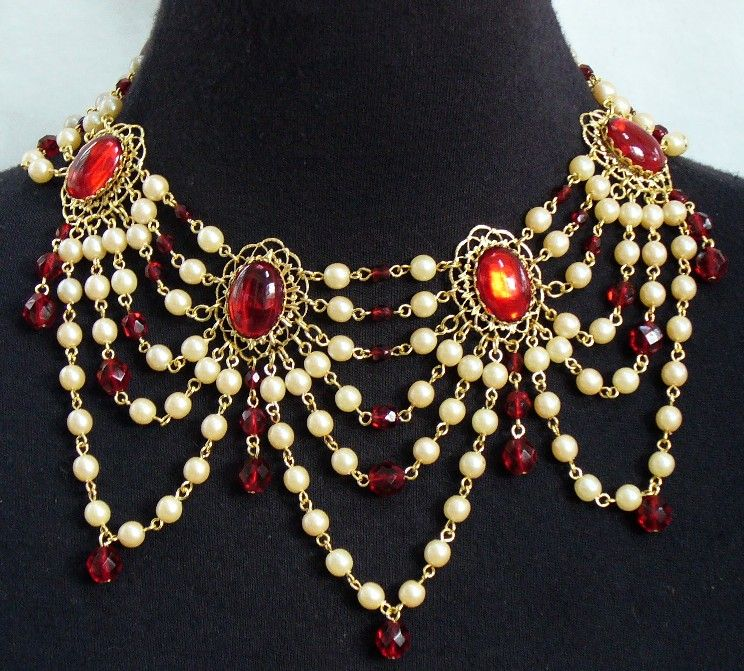 """Emma"" Victorian Festoon Necklace (minus the pirate cameo).  Looks lovely with lace Victorian blouses.  Shown with ruby red Czech glass faceted beads, but may be made with any color under the rainbow."