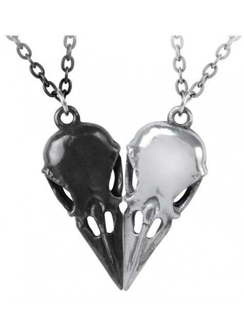 Coeur Crane Bird Skull Necklace Set #gemstonejewelry