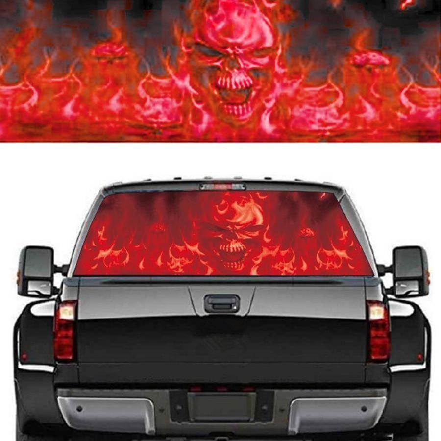 Rear Window Flaming Skull Cool Sticker Rear Window Sticker For Suv Jeep 135x36cm Rear Window Window Stickers Cool Stickers [ 900 x 900 Pixel ]