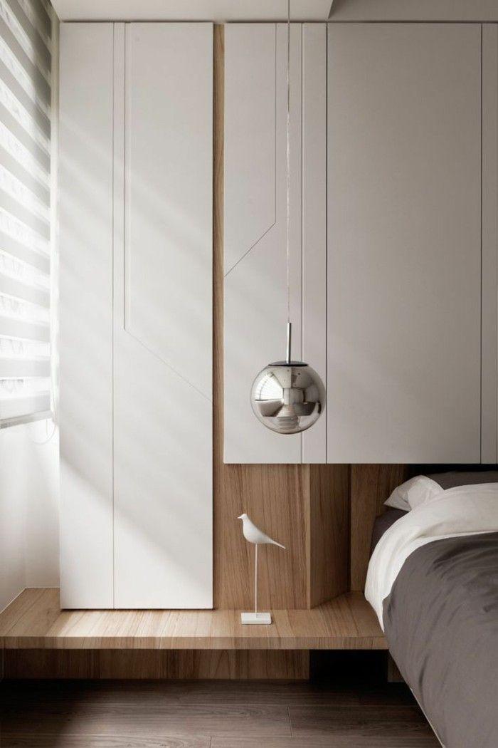 schlafzimmer ideen minimalistische züge helles holz hängelampe - schlafzimmer aus holz design ideen bilder