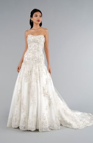 Strapless A Line Wedding Dress With No Waist Princess Seams In Beaded Lace Bridal Gown St Wedding Dress Accessories Wedding Dresses Wedding Dresses Strapless