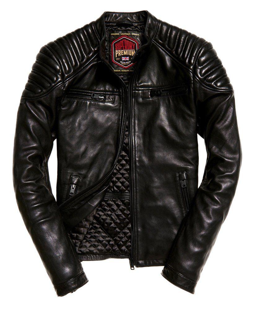Superdry Hero Leather Racer Jacket Black Leather Jacket Men Best Leather Jackets Jackets Men Fashion [ 1000 x 820 Pixel ]
