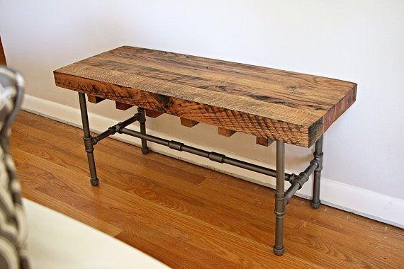 Beau style industriel bois massif banc ou table basse
