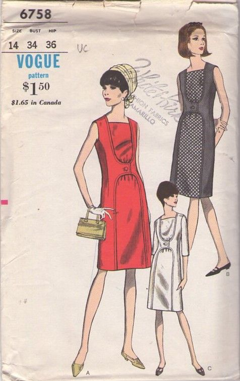 Vogue 6758 Vintage 60\'s Sewing Pattern AWESOME Unusual Mod Dress ...