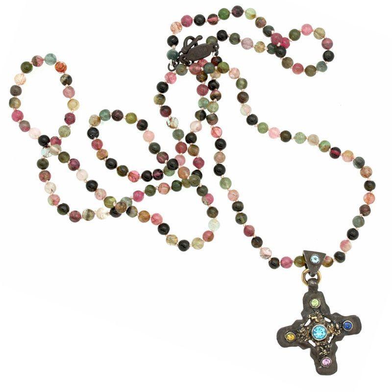 Signature Cross Multi Tourmaline Long Necklace