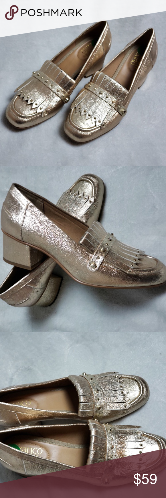 4cfed7f2893 Franco Sartoetallic Gold Fringe Block Heel Loafers Franco Sarto  Lauryn   gold metallic heeled loafers