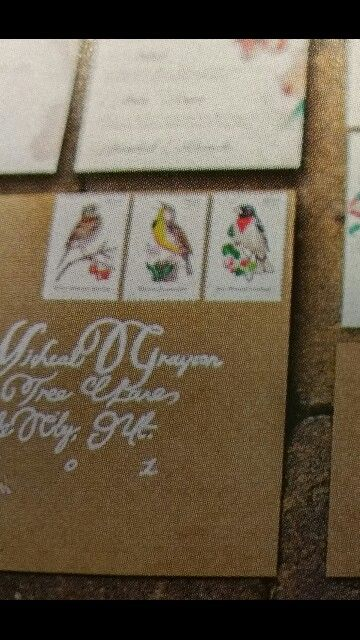 "Bird stamps fun for spring or summer wedding.  Also nice for a ""nesting"" theme shower."