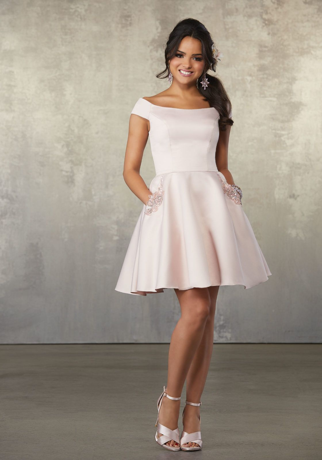 43ceffab0fd Satin Party Dress with Bateau Neckline and Beaded Pocket Detail in ...
