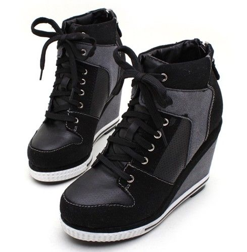 Womens Ladies Platform Wedge Booties High Heels Sneakers Shoes Lace Up US 7  8 | eBay