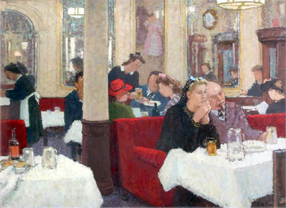 'Dinner at the Garrick' 1946 by Edward Le Bas