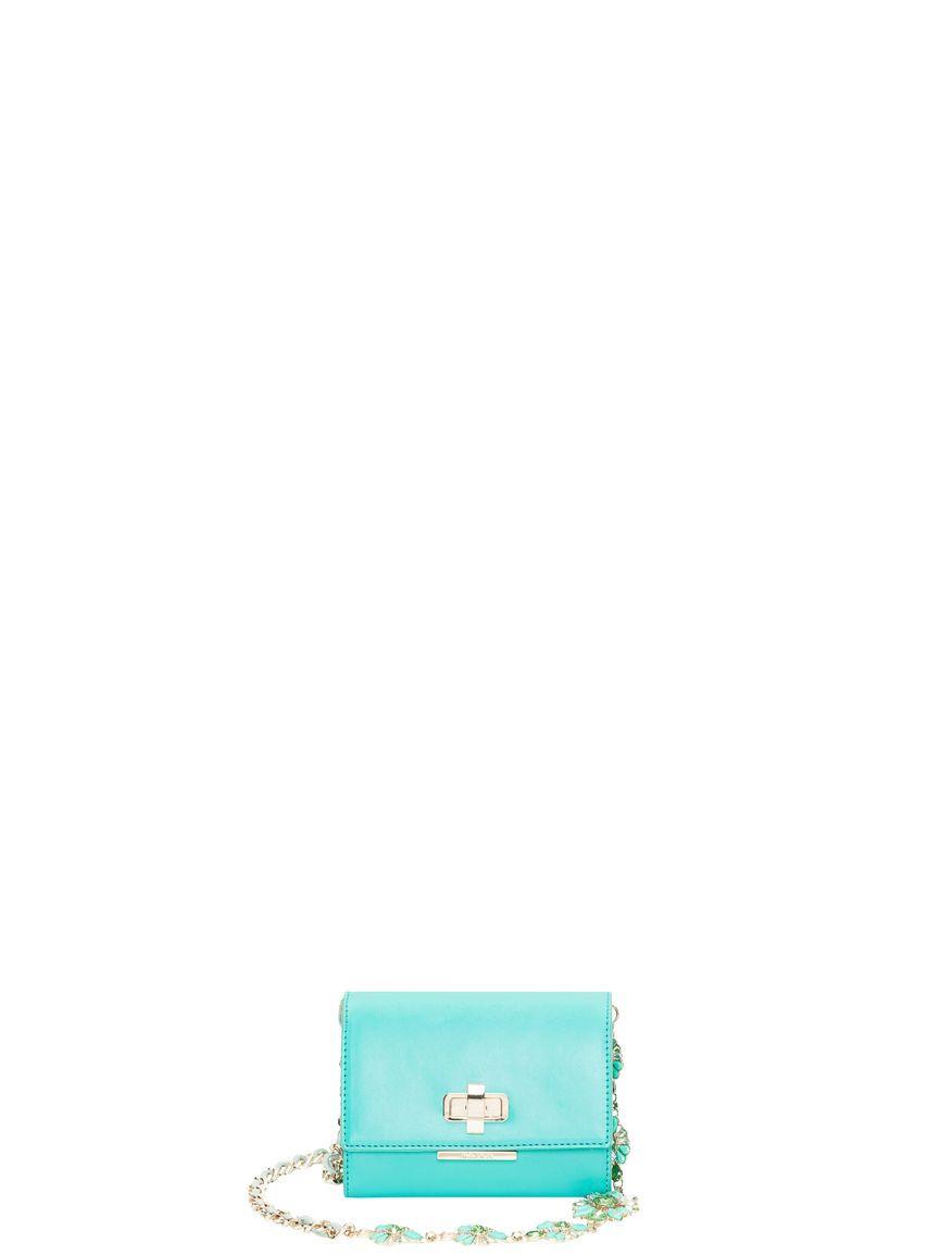 Borsa mini con tracolla bijou, verde -