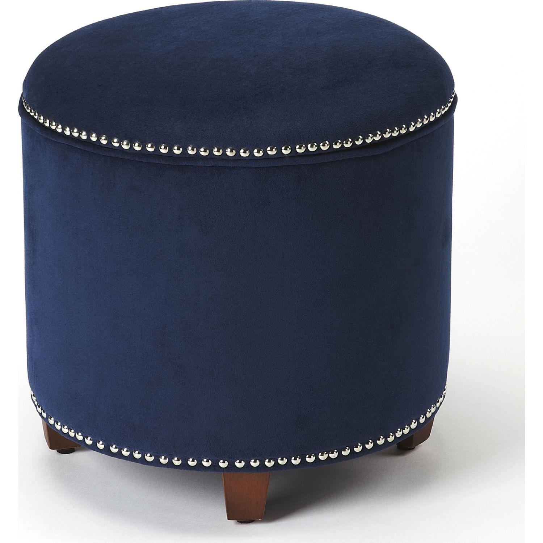 Butler Yara Storage Ottoman Blue Velvet Nailhead Blue Velvet Ottoman Blue