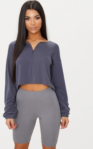 PRETTYLITTLETHING Charcoal Crop Top Discount Latest Collections SFNGbh