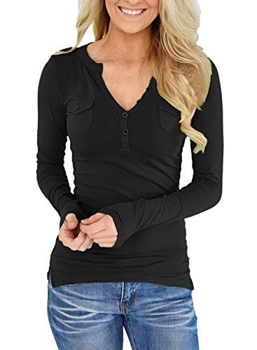 e5491a9c1fbeea KISSOURBABY Womens Casual Henley Button V Neck Shirt Long Sleeve Top Blouse  with Pockets Casual