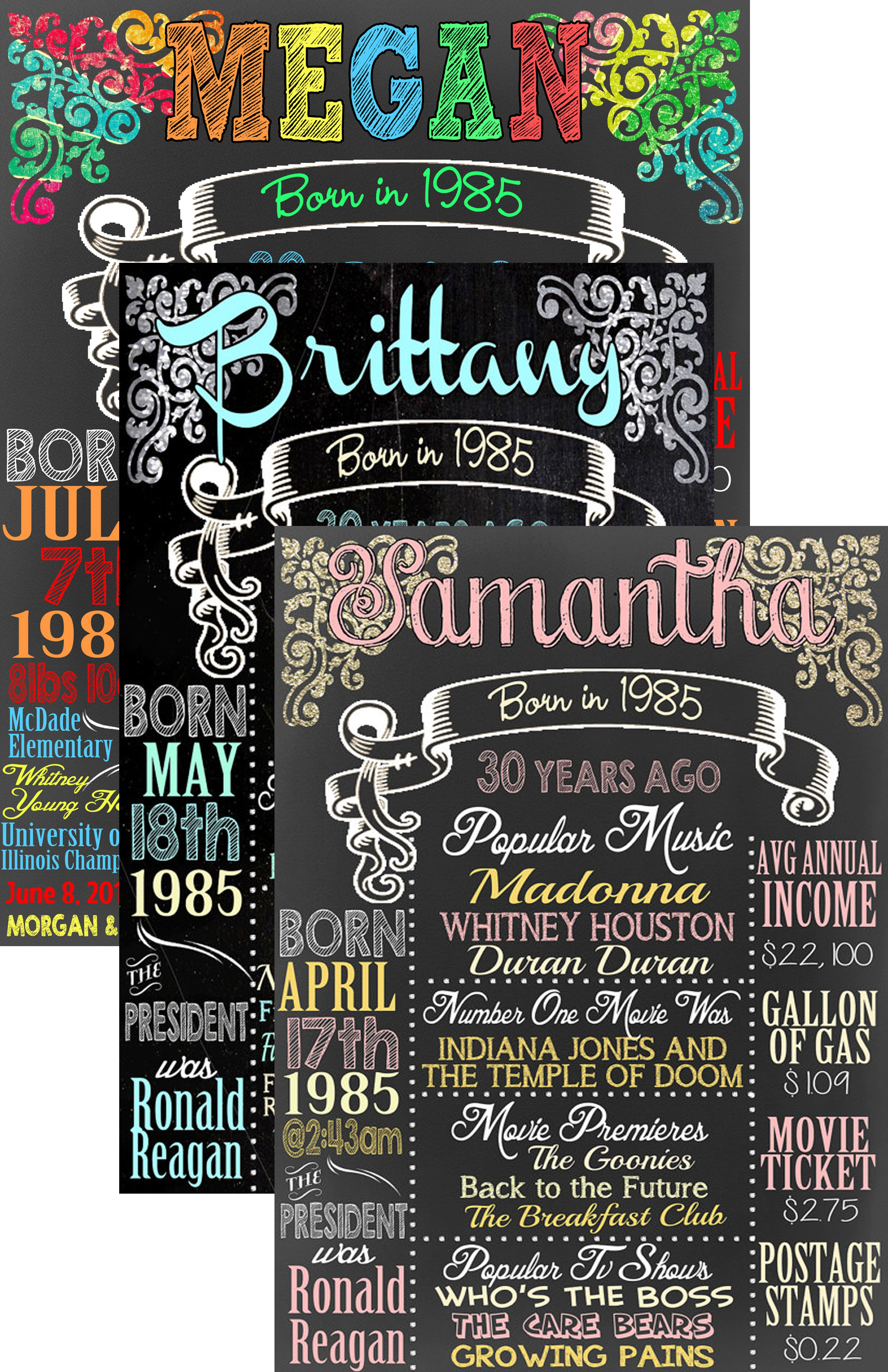 Born In 1985 Fact Chalkboard Sign 30th Birthday Party Ideas What Happened