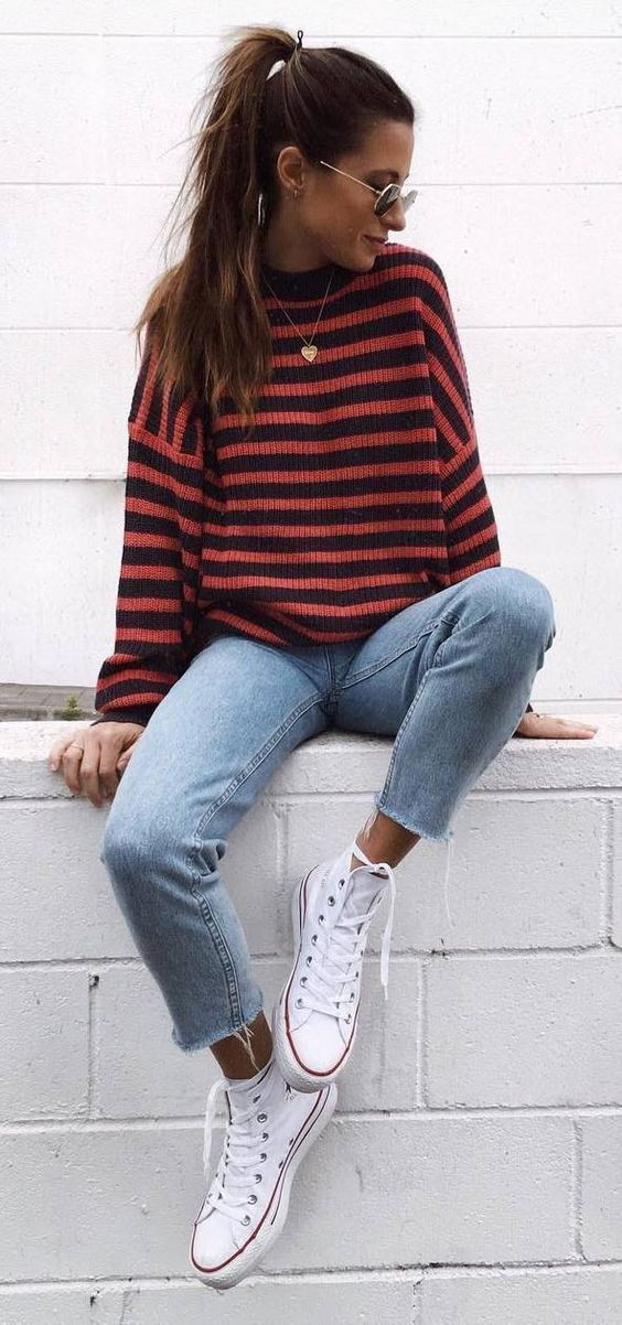 cute fall outfit  stripped sweater  jeans  converse