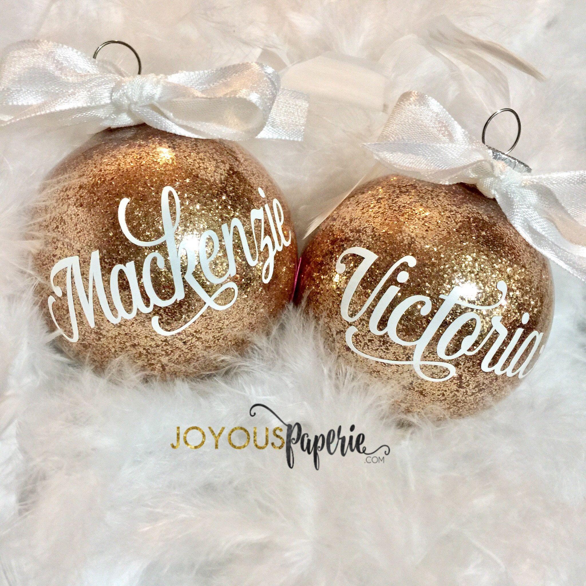 Personalized Ornament Rose Gold White Ornament Christmas Ornament Glitter Ornament Gift For Him Gift For Her Christmas Gifts Personalized Ornaments Custom Ornament Christmas Ornaments