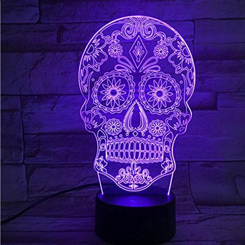3d Illusion Lamp Skull Arabesque Multicolor Desk Led Usb Button Light 7 Color Change Amazon Best Buy Ledlig Skull Light 3d Illusion Lamp Skull Decor