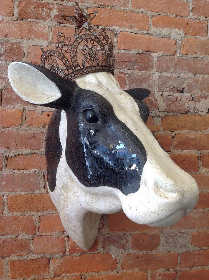 Bon jour!! Le Moo is in her chariot ready to head to the fair! She's so pampered! (Life-size cow head with black glass mosaic from Urban Farmhouse)