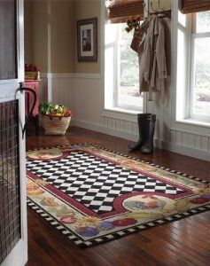 Funky Whimsical Rooster Area Rugs For Good Luck Country Kitchen Decor