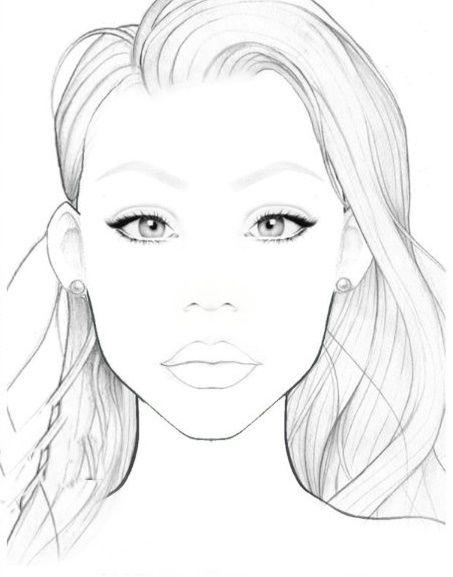 picture relating to Makeup Face Template Printable named Blank deal with chart Generate up, hair and all components interesting